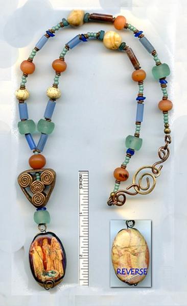 Brigid the Goddess antique glass & bronze necklace