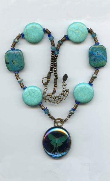 Luna moth evocative necklace
